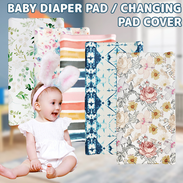 Baby Unisex Diaper Change Table Sheet Changing Pad Cover Floral Print Fitted Crib Sheet Infant or Toddler Bed Nursery 2