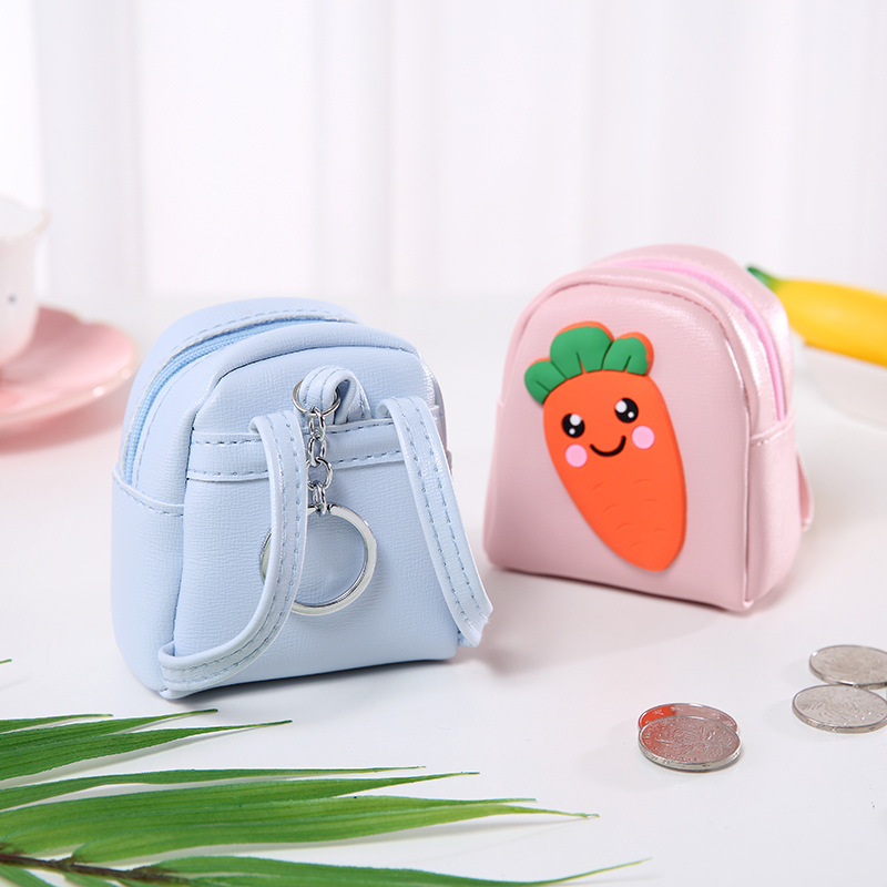 Carrot Hipster Small Backpack Mini PU Leather Backpack-Zipper Mini Purse Creative Small Gifts