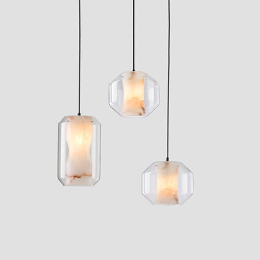 Moderno led luzes pingente de vidro mármore imitação iluminação nordic lâmpada sala estar restaurante cozinha deco pendurado luminárias