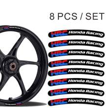 Interessante hrc honda racing aro adesivos listras da roda conjunto adesivo de carro acessórios decoração pvc 13cm x 1.7cm decalque
