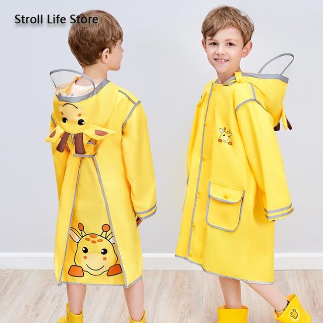 Cartoon Yellow Kids Raincoat Long Rain Poncho Waterproof Suit Rain Coat Jacket Boys and Girls Windbreaker Impermeable Gift Ideas
