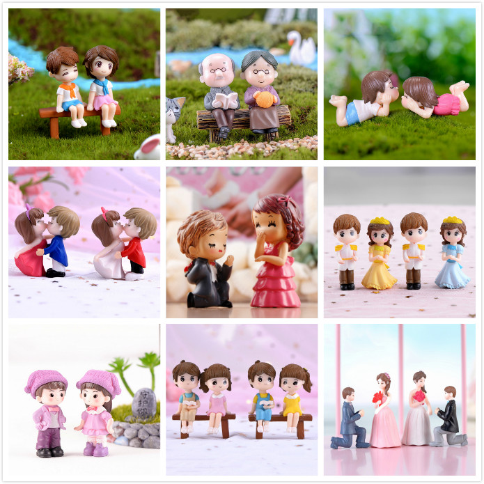 1set Boy Girl Home Decor Sweety Lovers Couple Chair Figurines Miniatures Terrariums Fairy Garden Moss Children Toy Resin Crafts