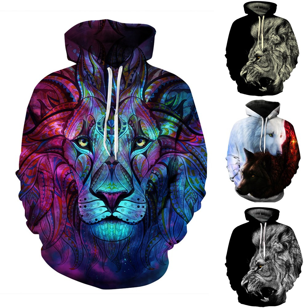 3D Lion Print Hoodies Women Men Animal Pattern Print Hooded Long Sleeve Pocket Pullover Winter Casual Outdoor Sweatshirts