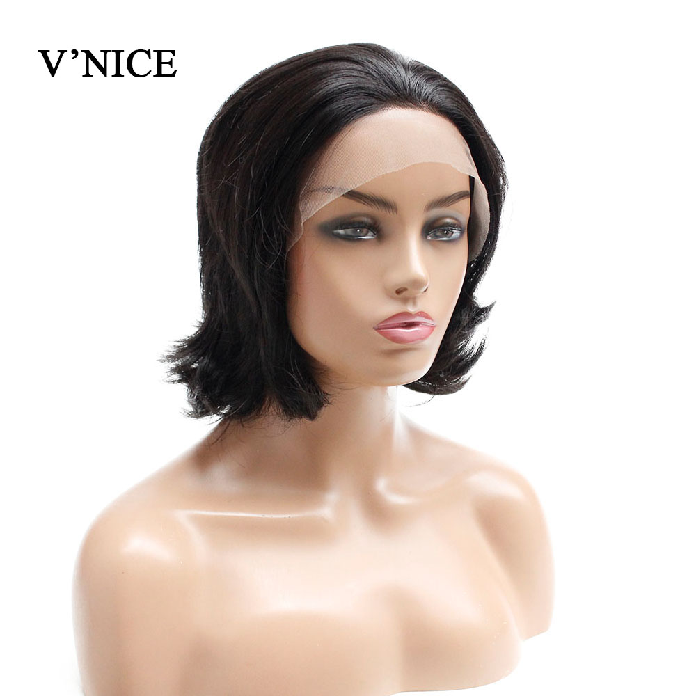 V'NICE 8 Inch Short Bob Lace Front Wig For Women Daily Natural Glueless Synthetic Wigs Heat Resistant Fiber Middle Part Hair