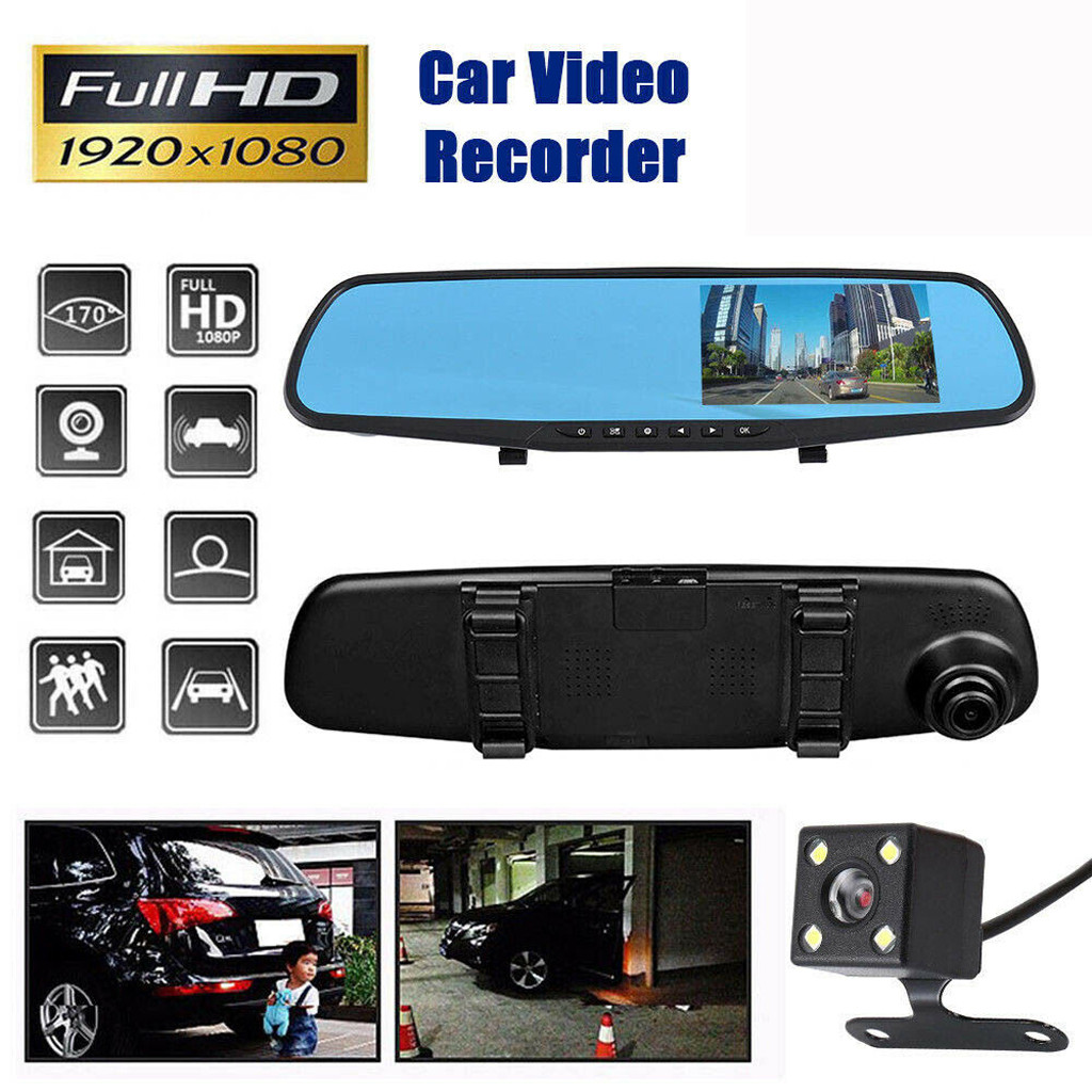 4.3 inch Night Vision <font><b>Car</b></font> <font><b>Dvr</b></font> Camera Rearview <font><b>Mirror</b></font> Digital Video Recorder Auto Camcorder Dash Cam FHD 1080P dual len image