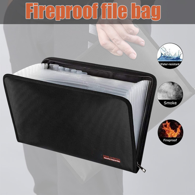 Fireproof Waterproof File Folder Money Document Bag With 12 Pockets Zipper Closure Pouch GK99