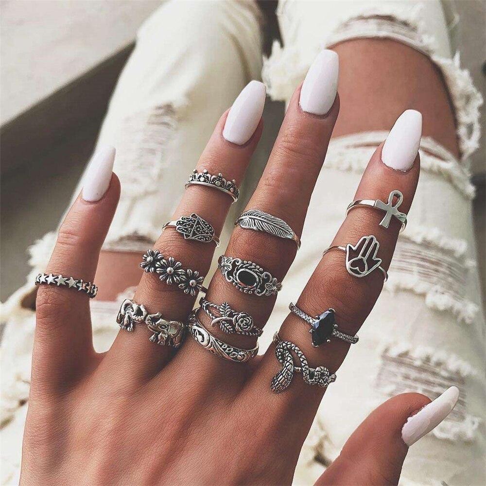13 pçs/set mulheres do vintage cobra elefante cruz flor anéis definir preto cristal nova moda anel para as mulheres dedo casamento jóias