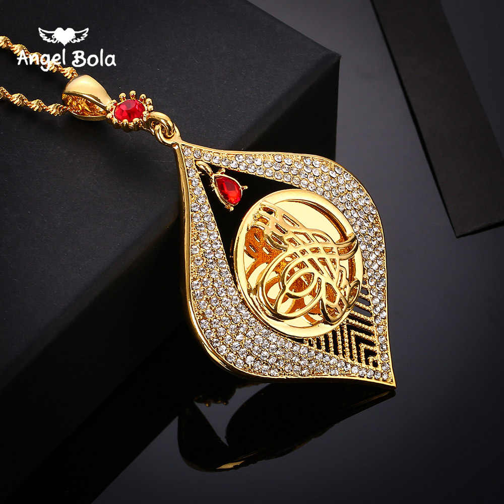 Ethiopian Style Pendant Necklace Gold Color Jewelry for Women African Eritrea Items Slam Arabic Jewelry Women Middle East
