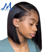 Missblue perucas de cabelo humano da parte dianteira do laço curto para preto feminino 13x4 brasileiro remy do cabelo do laço frontal bob perucas com cabelo do bebê