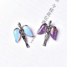 Pingente de anjo de cristal natural de quartzo, joia mineral de quartzo, 1 peça