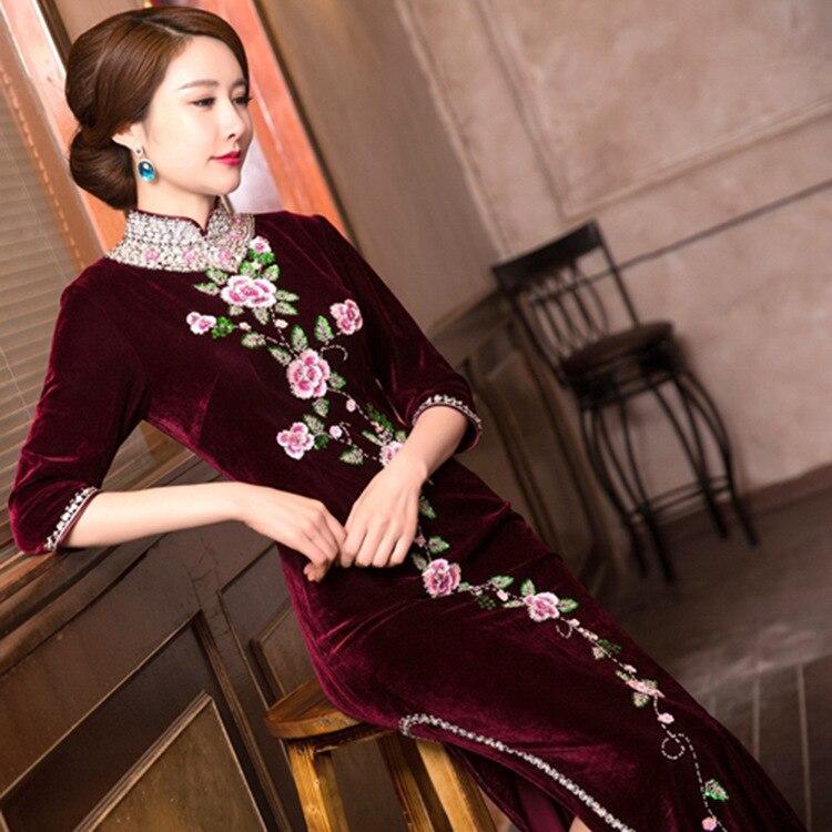 Robe mère robe mère haut de gamme industrie lourde toast col montant 7 points manches haute fente clou perle longue styleQuinceanera Robes   -