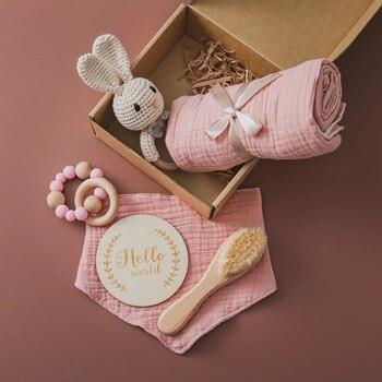 1Set Baby Bath Toy Set  Baby Bath Towel Wooden Rattle Bracelet Crochet Rattles Toys Infant Bath Products Newborn Bed Bell