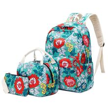 3pcs Fashion Floral School Backpack Girls Lunch Pencil Bag Purse Laptop Daypack Bookbag Set dispalang cute ballet girls school backpack and lunch pouch set pretty bookbag insulated cooler bag for children pencil case kid