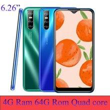 A90 pro telefones celulares waterdrop smartphones android quad core 4g ram 64g rom 6.26 polegada 13mp face id desbloqueado telefones celulares