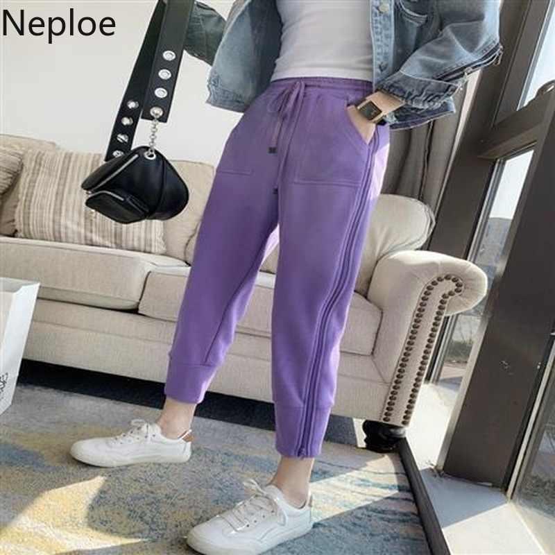 Neploe calças femininas moda sólida rendas até calças de cintura elástica com zíper primavera 2020 casual alta cintura feixe pés calças femininas
