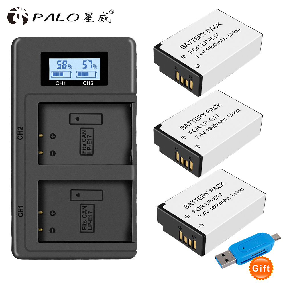 PALO 2Pc LPE17 LP E17 LP-E17 Batterie + LCD USB Dual Ladegerät für Canon EOS 200D M3 M6 750D 760D T6i T6s 800D 8000D Kuss X8i Kameras