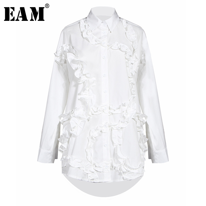[EAM] Women Black Ruffles Split Joint Big Size Blouse New Lapel Long Sleeve Loose Fit Shirt Fashion  Spring Autumn 2020 1S551