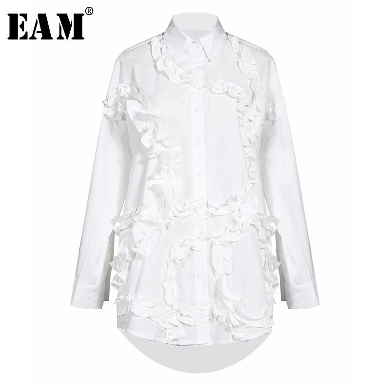 [EAM] Women Black Ruffles Split Joint Big Size Blouse New Lapel Long Sleeve Loose Fit Shirt Fashion  Spring Autumn 2020 1S551
