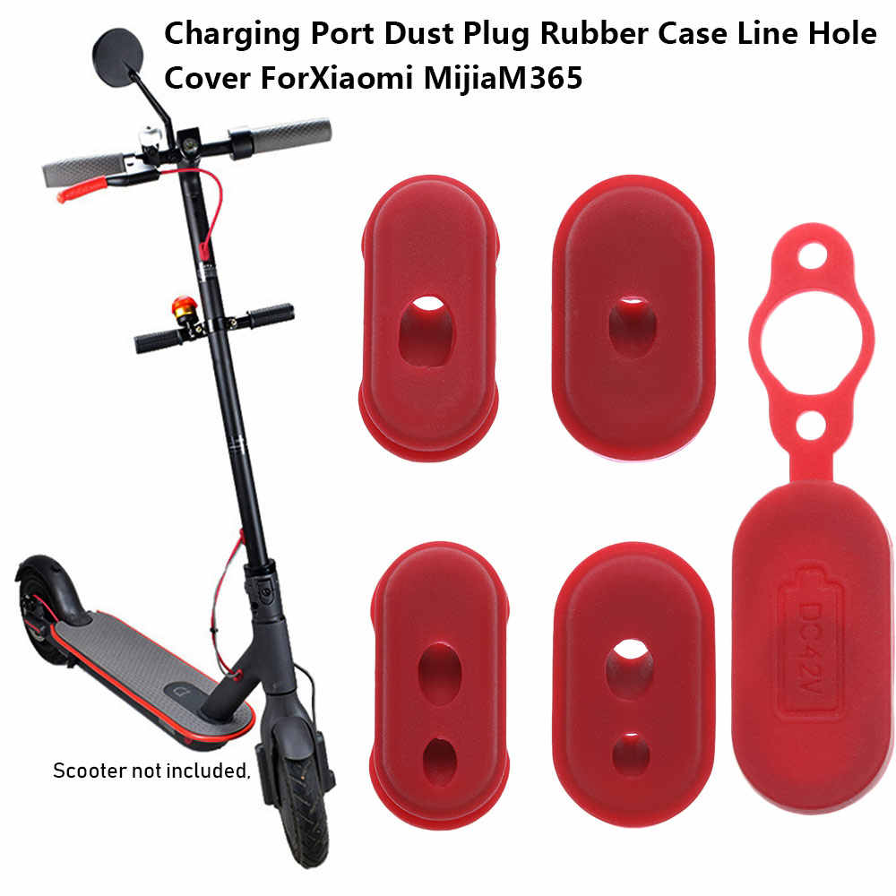 New 4PCs  Red Color Rubber Charge Port Cover Rubber Dust Plug Case for XIAOMI M365 Electric Scooter Parts Skateboard Accessories