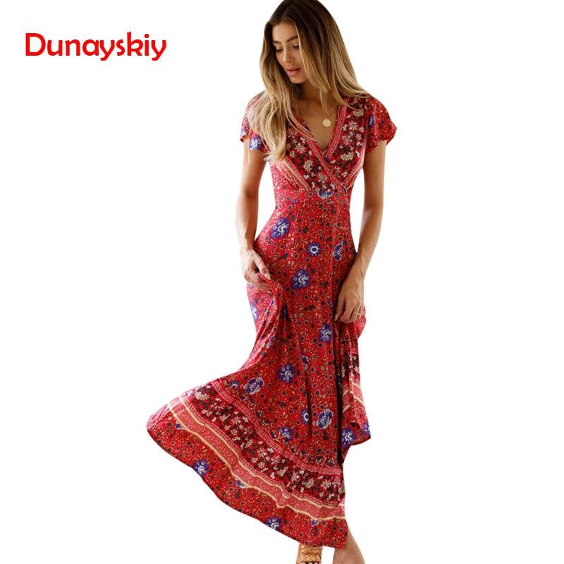 New Popular 2020 Summer Women V-neck Short Sleeve Boho Bohemian Floral Print High Split Beach Long Dress Wrap Maxi Dresses