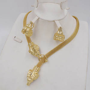 Image 2 - High Quality Dubai Gold color Jewelry Set For Women african beads jewlery fashion necklace set earring jewelry