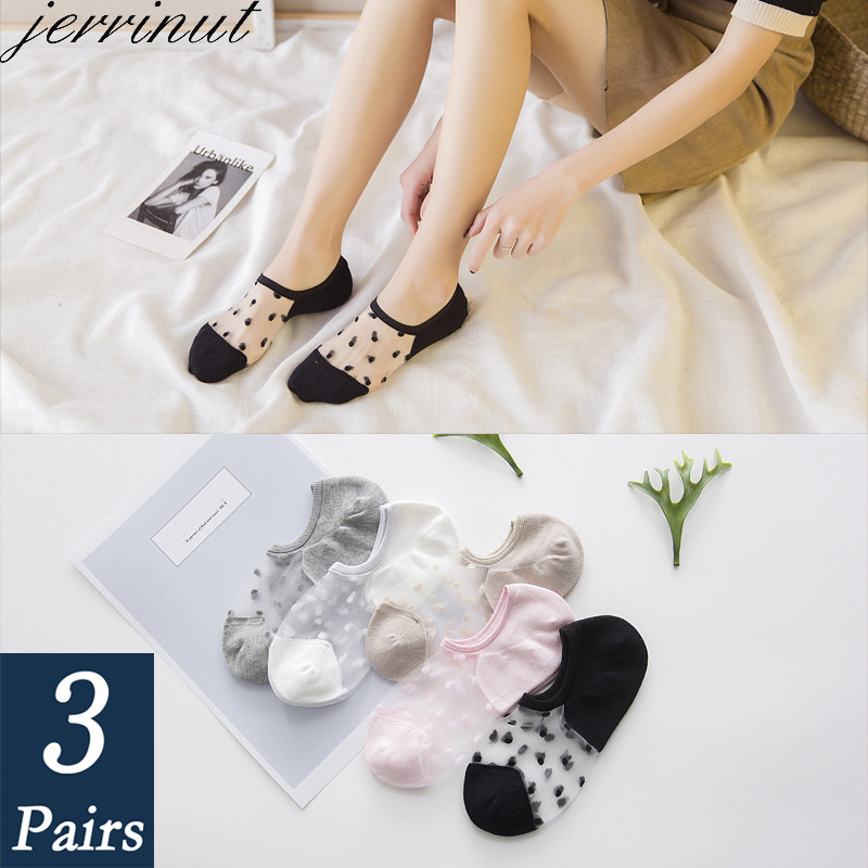 Women's Ankle Socks Transparent Invisible Socks Summer No Show Ankle Half Lace Socks Non-slip Mesh Sheer Half Thin Socks 3 Pairs