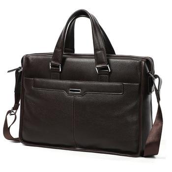 Genuine leather men's business briefcase