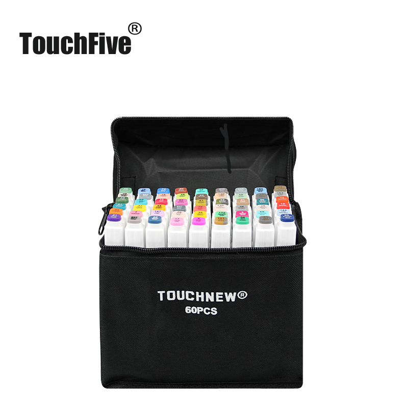 TOUCHFIVE Markers Pen Multicolor Set Anime Student Architecture Interior Design Sketch Alcohol Brush Art Marker (White Pen) image