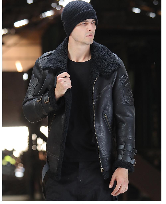 H0a8bec1a5dee4e579cce61643e47e689S 2019 Fashion 100% Quality Real Sheepskin Fur Men Coat Genuine Full Pelt Sheep Shearling Male Winter Jacket Brown Men Fur Outwear