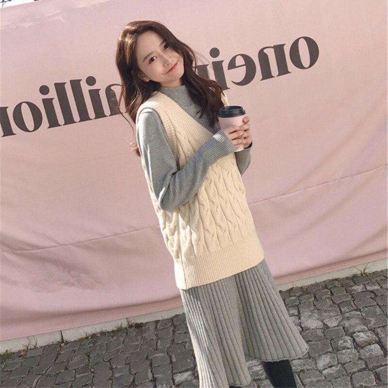 Autumn And Winter Elegant Goddess-Style Jersey Dress Set Short-height Sweet Sweater Waistcoat Skirt Two-Piece Women's Fashion