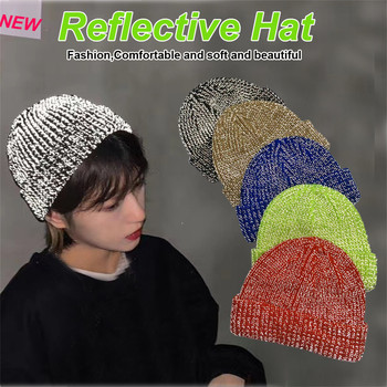 New Fashion Hat шапка женская Beanie Bucket Winter Women Reflective Ski Cap Cuffed Knitted Warm Great Free Ship