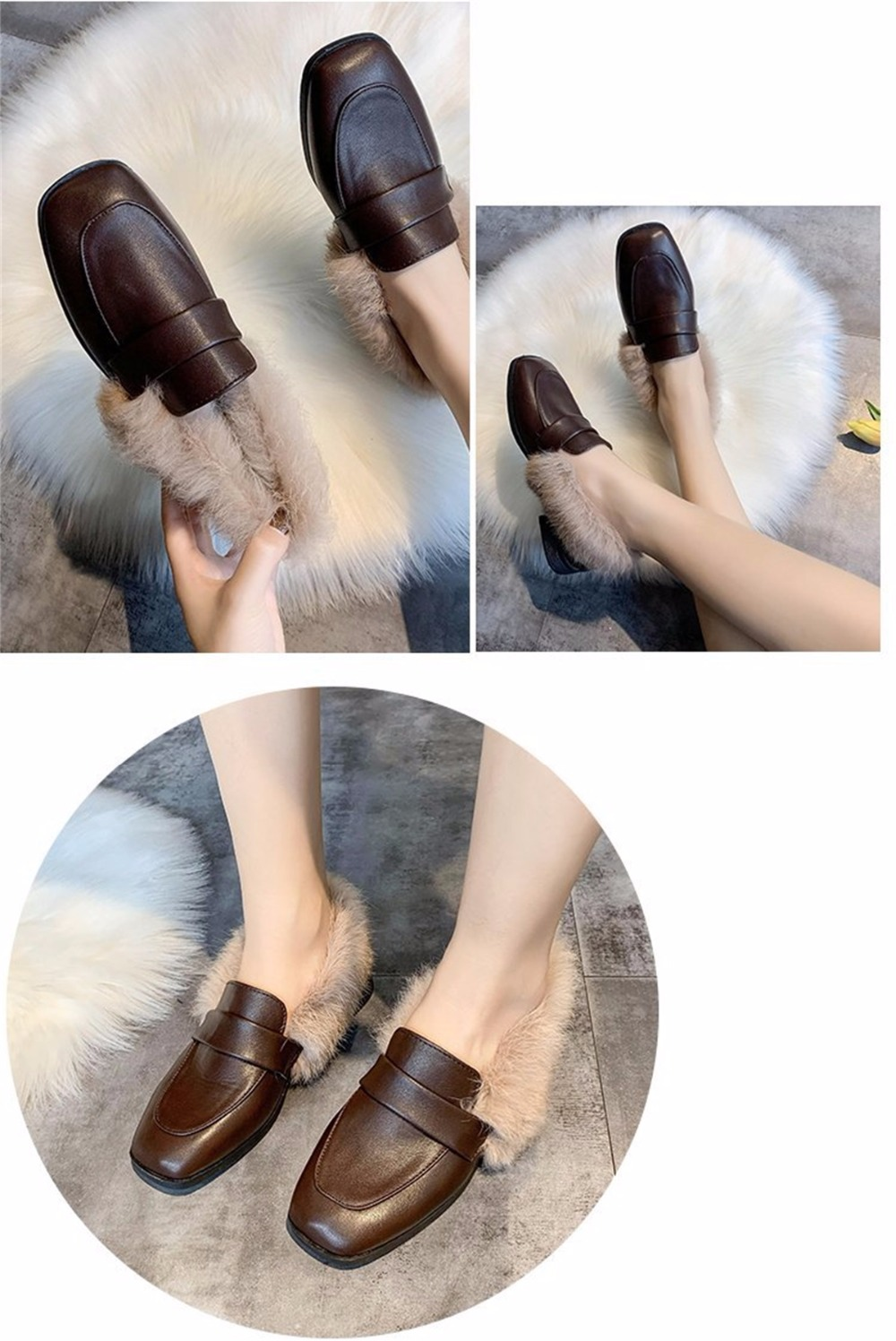 Autumn winter casual women shoes fluffy warm fluffy lining fashion black brown square toe women's shoes 36