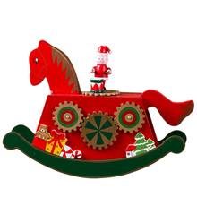 Kids Music Color Painted Wooden Rocking Horse Christmas Music Box Christmas Decoration Ornament Holiday Children\'s Gift New(China)