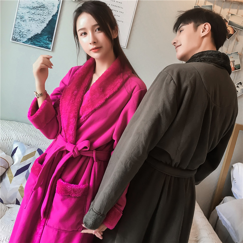 Nightgown Women'S Autumn/Winter Flannel Couples Sleepwear Coral Robe Men'S Double Thickened And Long Style Warm Homewear