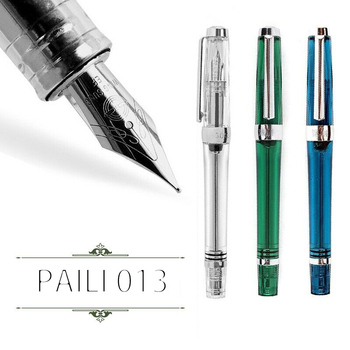 PAILI 013 Vacuum Fountain Pen Resin Transparent Quality EF/F Nib Fountain Pen Ink lorelei acrylic resin transparent fountain pen quality iridium ef f 0 38 0 5mm with converter gift ink pen for business office