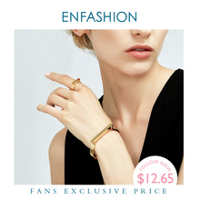 Enfashion Personalized Custom Engrave Name Flat Bar Cuff Bracelet Gold Color Ban