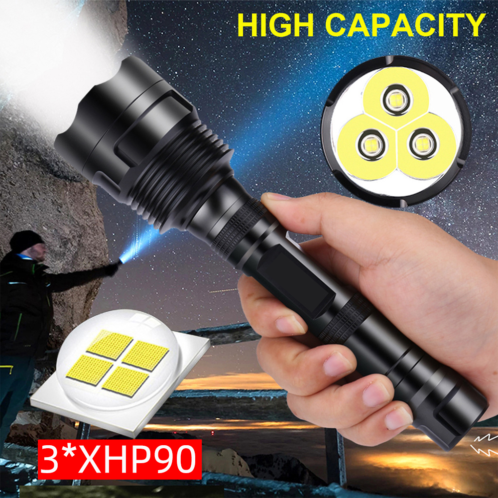 8000LM 3*XHP90 Most Powerful LED Flashlight 3*XHP50 Waterproof Camping Tactical Torch Use 3*18650 Rechargeable Batteries