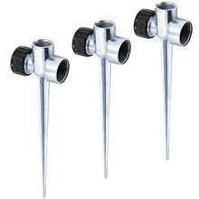 3 Pack 1/2 Inch Zinc Flow Thru Lawn Sprinkler Spike Base, Watering Sprinklers for Yard, Lawn and Grass Irrigation(China)