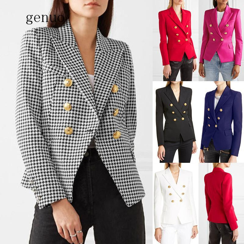 Women Coat Long Blazer Plus Size Plaid Jacket Winter Clothes Women New Black Red Pink Blue Office Lady Ladies Coats