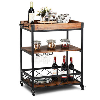 Costway 3 Tier Rolling Kitchen Trolley Island Cart Serving Dining Storage Shelf Utility HW64305
