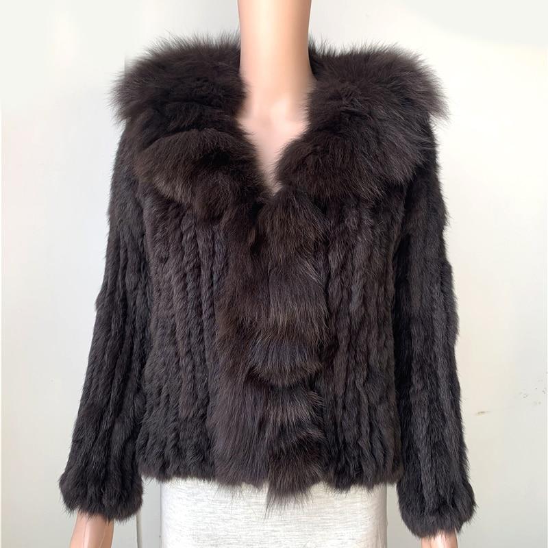 Sales Clearance  Rabbit Fur Coat  Fox Fur Collar