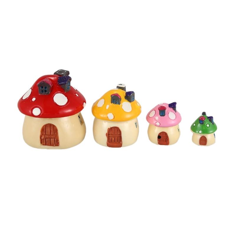 4 Color & Size In Set Miniature Fairy Garden Mushroom House Ornament Outdoor Decor Home Decoration