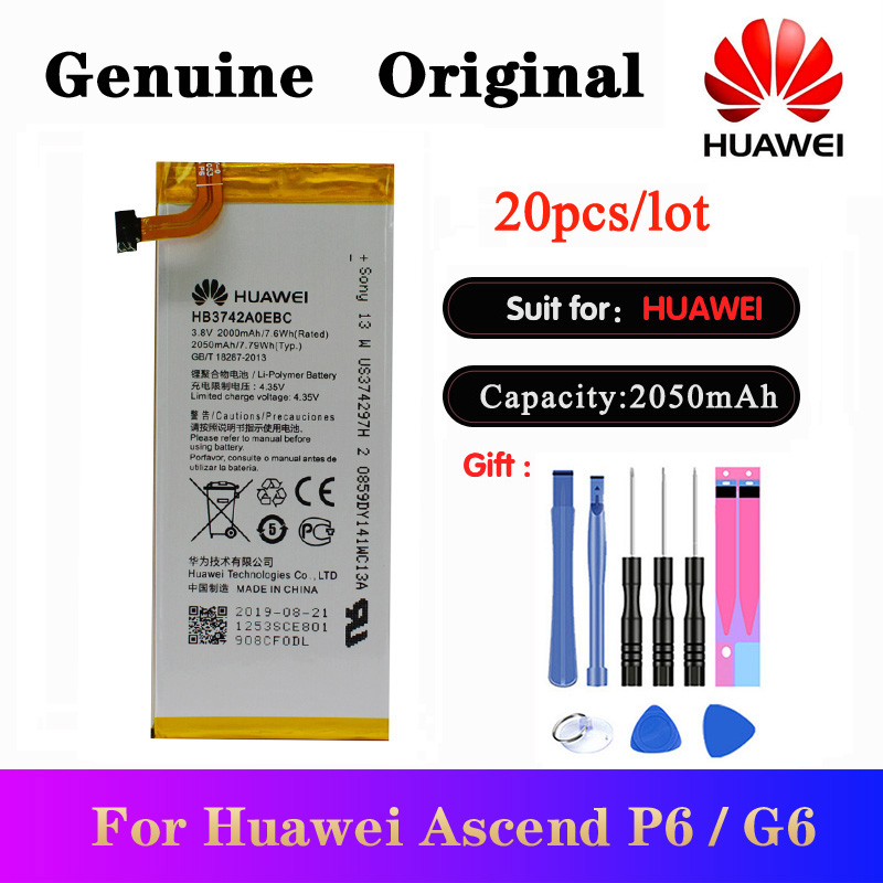 20pcs/lot Original <font><b>Battery</b></font> <font><b>HB3742A0EBC</b></font> For <font><b>Huawei</b></font> Ascend P6 P6-U06 p6-c00 p6-T00/ Ascend G6 G620 G621 <font><b>G620s</b></font> G630 2000mAh image