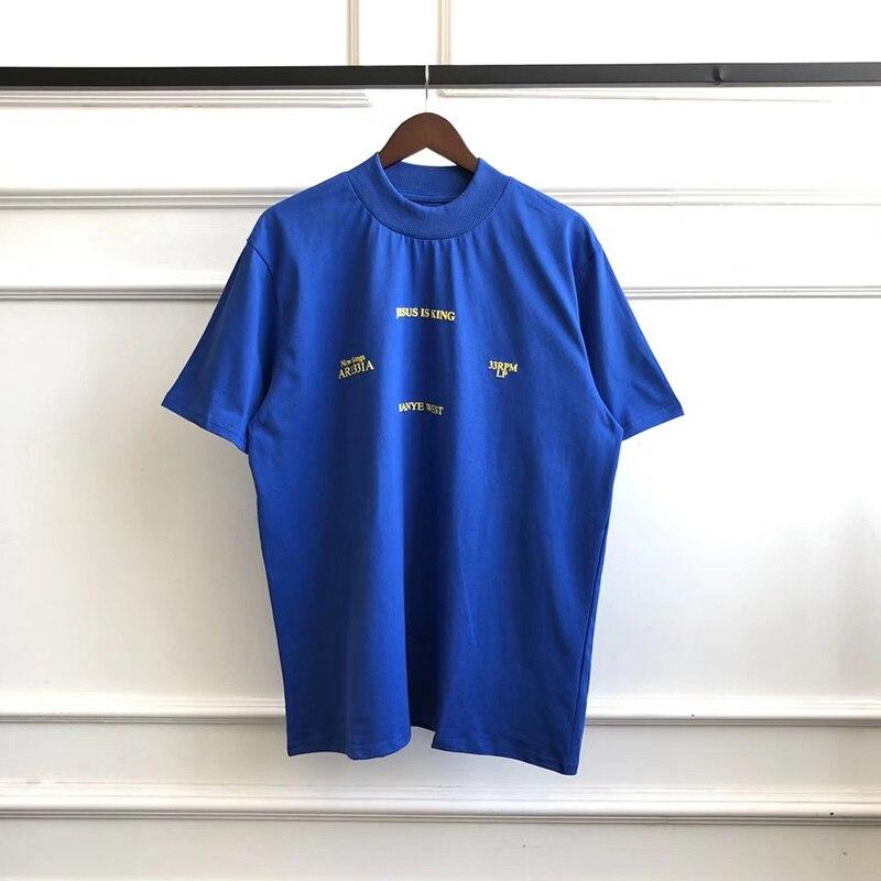 2020 New Summer Turtleneck Kanye Jesus Is King Short Sleeve Tshirts Men And Women Harajuku Pure Cotton High Quality 1:1 T Shirt