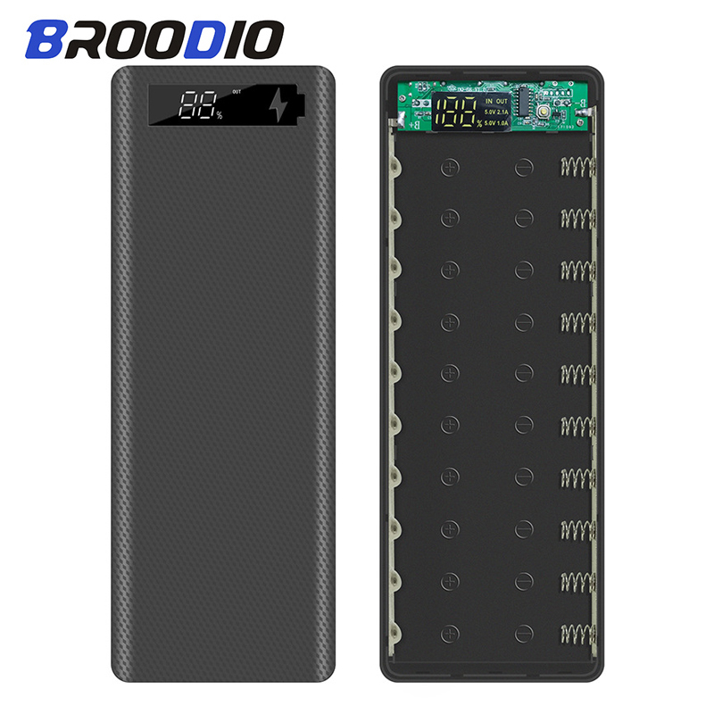 10*18650 Power Bank Case Dual USB With Digital Display Screen Mobile Phone Charger DIY Shell 18650 Battery Holder Charging Box