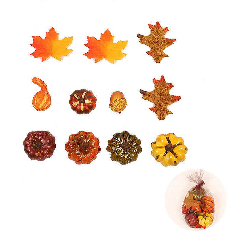 Artificial Flowers Mini Fake Pumpkin With Simulation Maple Leaves Fruit Bunch For Halloween Thanksgiving Autumn Ornaments New