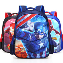 2018 Captain America Iron Man Spiderman Girl Baby Children Nursery School bag Bagpack Schoolbags Canvas Kids Student Backpacks(China)