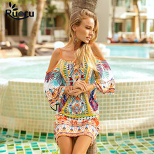 Ruoru summer plus size dress loose spaghetti strap off shoulder dresses colorful beach boho vestidos de fiesta