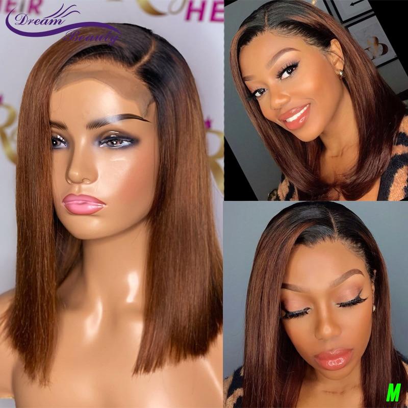 Омбре цвет полный парик шнурка прямой боб фронта шнурка человеческих волос парики с детскими волосами Remy бразильские парики мечта красоты