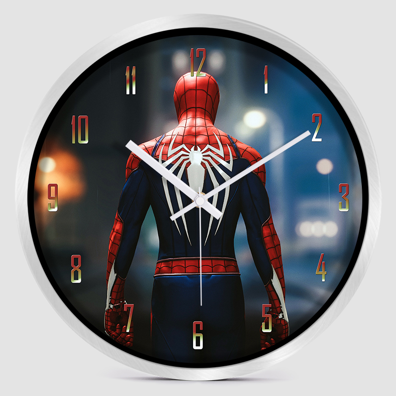 12 pouces silencieux Cartoon Super héros Avenger horloge murale colorée moderne chambre d'enfants cuisine maison décorative - 5